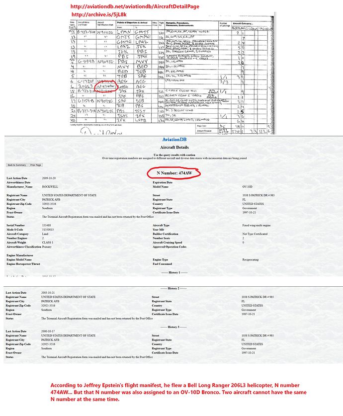 Jeffrey Epstein caught sharing an FAA tail number with a US